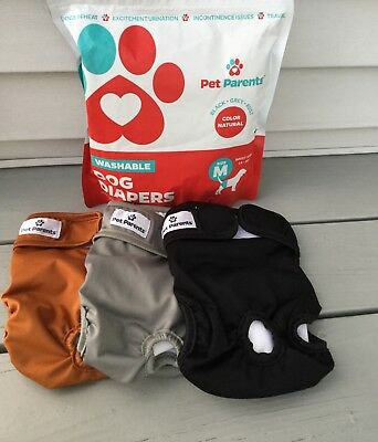 Pet Parents Premium Washable Dog Diapers (3pack) of Doggie Diapers Size M~ NEW!