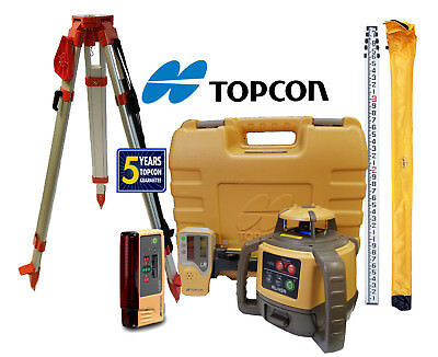 Topcon RL-H5A DB Laser Level Package PLUS LS-B10, 13 Foot Tenths Rod & Tripod