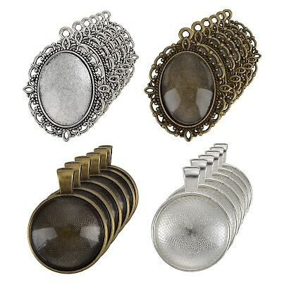 12 Pieces Oval Pendant Trays and 12 Pieces Round Bezels with 24 Pieces Glass Dom