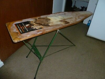 Antique General Electric Ironing Board, Primitive Wooden Top & Green Metal Legs