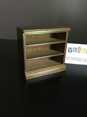 Vtg Dollhouse Miniature Wood Small 3 Shelf Bookcase Storage
