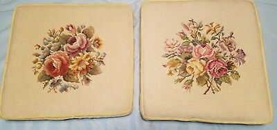 Vintage Set of Two Tapestry Needlepoint Floral Flowers Padded Chair Seat Covers