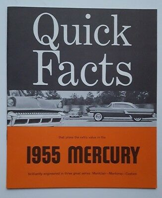 1955 Mercury Quick Facts Car Sales Brochure Catalog