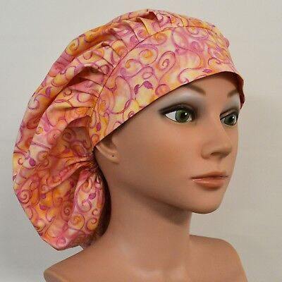 Scrub Hat, Banded Bouffant, Pleated, Pinks/Yellow Swirling Vines, One Size