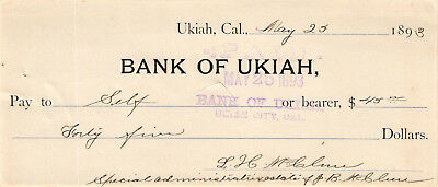 1893 $45.00 Check on the Bank of Ukiah, California - USED