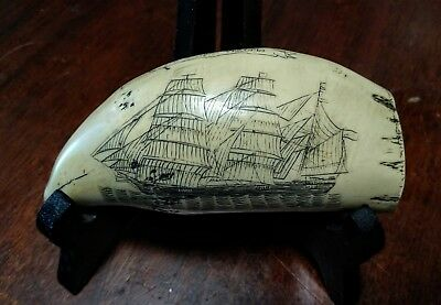Scrimshaw Faux Resin Carved Sperm Whale Tooth The Baroque Victoria 1874