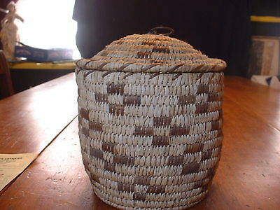Small Antique African Woven Covered Basket