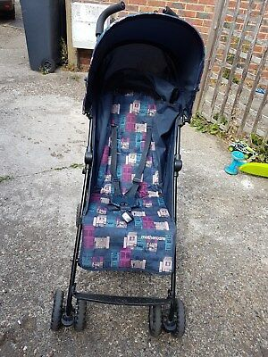 Mothercare Navy Pushchair Single Seat Stroller with raincover