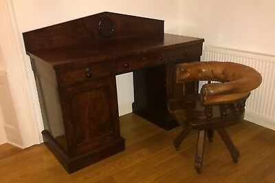 Flame Mahogany Library Desk C19th with Brass Locks and Key
