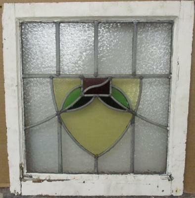 "OLD ENGLISH LEADED STAINED GLASS WINDOW Stunning Floral Shield 19"" x 20.25"""