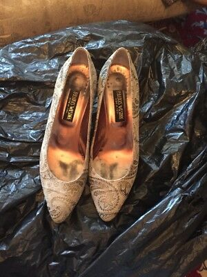 VTG BULLOCKS WILSHIRE Print LEATHER PUMPS HEELS MADE IN ITALY WOMEN'S SIZE 9