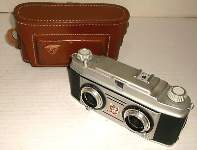 TDC STEREO COLORIST 35mm VINTAGE 3-D CAMERA w/ LEATHER CASE EXCELLENT CONDITION
