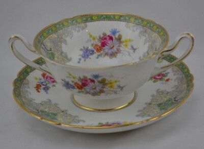 Shelley Georgian Green Set 3 Two Handled Cream Soup Cups and Saucers #1