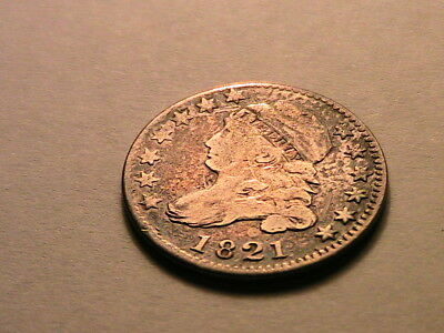 1821 Lg Date Capped Bust Dime Original Ch Fine JR-5 R-3 Ten Cent 10C USA Coin