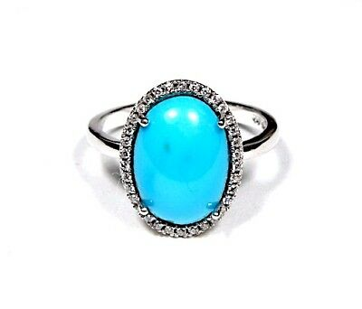 13x9mm Genuine Sleeping Beauty Turquoise 925 Sterling Silver Ring size 8