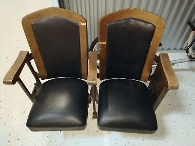 vintage theater seats cast iron and wood. PICK UP ONLY near O'hare