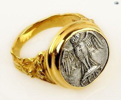 Stunning Ancient Silver Greek Pontos Amisos 4-5th cent. Coin in 18K Gold Ring
