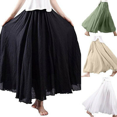 639c44da1d Women Boho Maxi Skirt Dress Holiday Summer High Waist Flared Long Skirt  Sundress