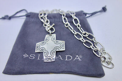 """Silpada .925 Sterling Silver """"Virtuosity"""" Cross Necklace with Toggle Clasp N0557"""
