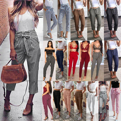 Womens High Waist Paperbag Trousers Fashion Striped Casual Loose Straight Pants