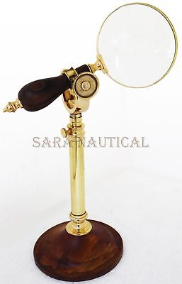 Makers To The Queen London Desk Magnifier Brass Wood Adjustable Magnifying Glass