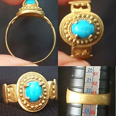 Roman historic bronze ring with Natural Turquoise stone