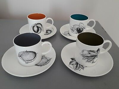 Vintage Susie Cooper Black Fruits Coffee Duos Cups & Saucers Cans