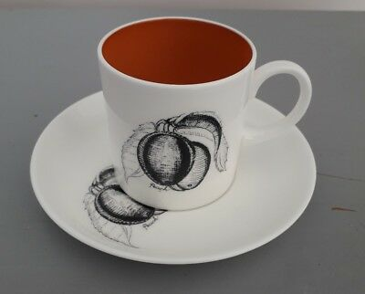 Vintage 1960s Susie Cooper Black Fruit Bone China Coffee Can & Saucer  Peach