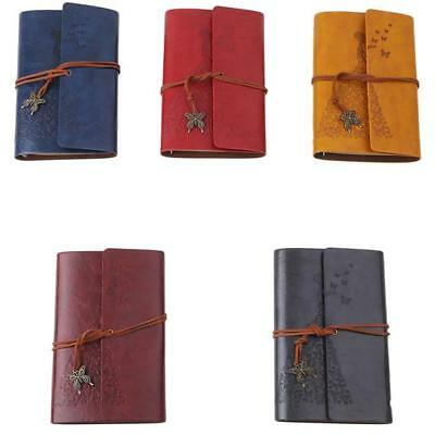 Vintage Leather Bound Blank Pages Diary Journal Clocks Notebook 6A