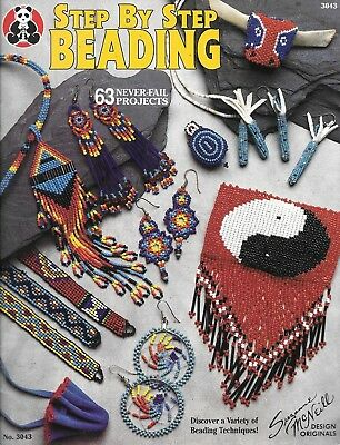 Step by step beading 63 projects techniques beadwork book c.1990's PB USA