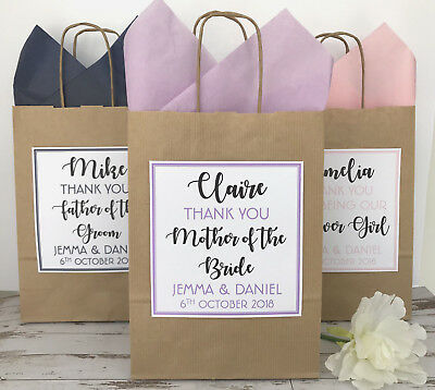 Personalised Wedding Favour Gift Bag | Party Bag | Thank You Bag | Text Brown