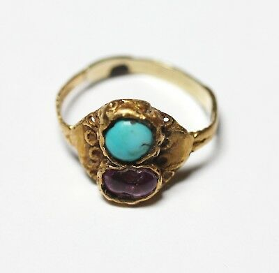 Antique Byzantine Gold Ring Turquoise Ruby AD 6th 9th Century Wearable Size P