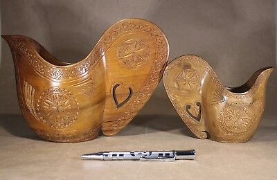 Two Vintage Chip Carved Wedding Cups Yugoslavia