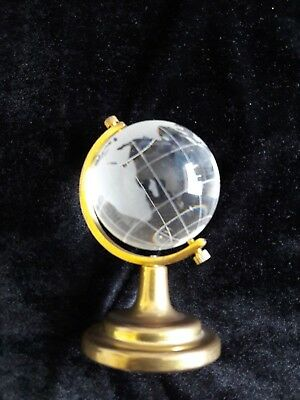 """Small 3.5"""" Glass Revolving World Globe, etched with the Continents Brass Stand"""