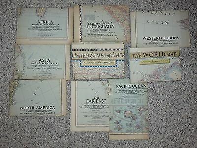 Discounted Vintage Lot of 9 1950-1952 National Geographics Maps