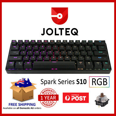 Compact Mechanical Gaming Keyboard 60% TKL with Brown RGB Switches - Jolteq S10