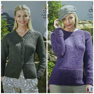 481d4cde2 KNITTING PATTERN Ladies Very Easy Knit Jumper   Cardigan Chunky King Cole  5322