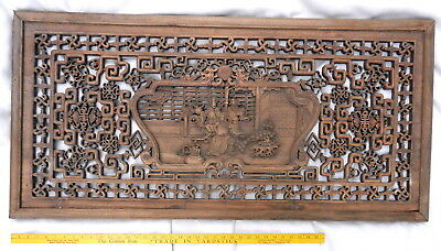 "Antique Asian/Oriental HAND CARVED WOODEN WALL ART Screen Display 48.5"" x 23.5"""