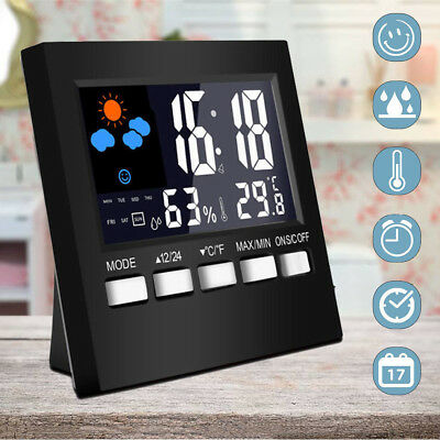 Alarm Clock Digital LED Backlight Time Date Display Snooze Thermometer Calendar