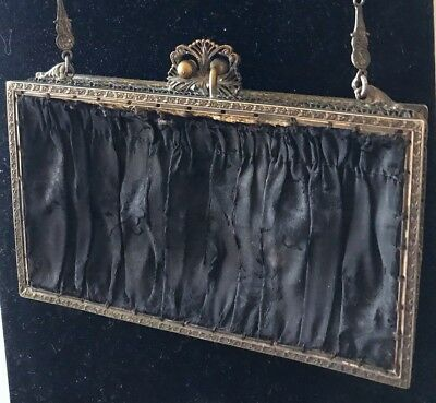 Stunning Rare Victorian Antique Unusual Box Hinged  Purse Gold Toned Frame