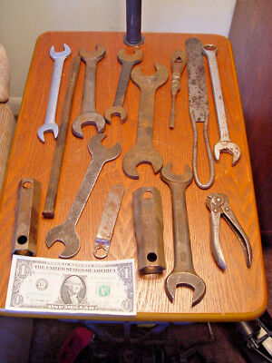 14 Pc Old Antique & Vintage Farm Auto Wrench Chisel Tool Wind Chime Craft Lot