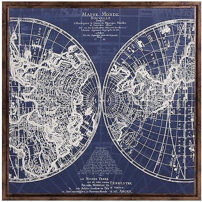 """34"""" Blue World Wall Map Framed 1700s-Era French Naval Navigational Raised Relief"""