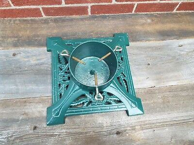"""Cast Iron Christmas Tree Stand Heavy Green 14""""x14 Vintage Ornate"""