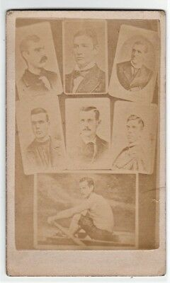 RARE CDV Photo - Ned Hanlan - Sculler Rowing - Paris Crew 1870s Toronto Canada