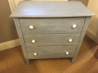 Vintage Antique Grey Painted Pine Chest Of Drawers With China Knobs