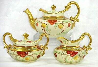 Antique Limoges Pickard Antique Porcelain Tea Set Artist Signed