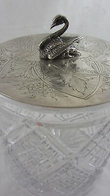 Antique English Silver Plate Crystal Cut glass biscuit barrel Box Swan Finial
