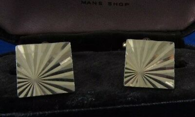 VINTAGE CUFFLINKS 1960s 1970s MOD GOLDTONE METAL RETRO SUN RAY CUT DESIGN