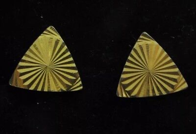 VINTAGE CUFFLINKS 1960s 1970s MOD GOLDTONE METAL Triangle RETRO CUT DESIGN