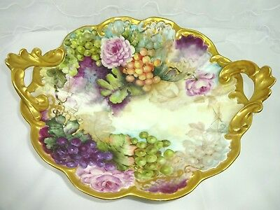 Antique French Limoges Bowl Hand Painted Roses Grapes Artist Signed